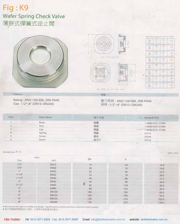 VAN 1 CHIỀU ĐĨA INOX 316-304
